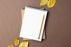 School notebook on a brown background with autumn leaves. Spiral notepad on a table Royalty Free Stock Photography