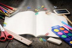 School notebook with magic light royalty free stock photo