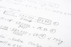 School Notebook With Mathematical Equations Royalty Free Stock Images