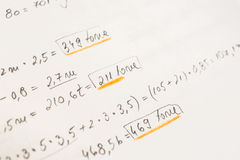 School Notebook With Mathematical Equations Stock Photo