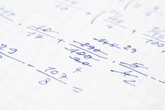 School Notebook With Mathematical Equations Stock Photography
