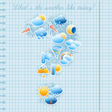 School notebook page weather forecast concept Royalty Free Stock Images