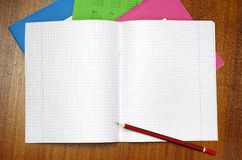 School notebook and pencil Royalty Free Stock Images