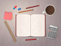 School notebook with school supplies. Open notebook, school supplies and cup of coffee on wooden desk. Back to school. Education and school concept. Vector Royalty Free Stock Image