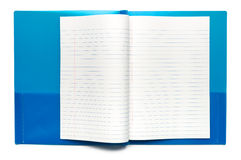 School Notebook. Spread Open on White stock photos
