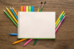 School notebook and stationery. Back to school creative, abstract, concept background royalty free stock photography