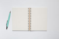 School notebook with stylish green pen Royalty Free Stock Photos