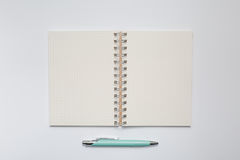 School notebook with stylish green pen Royalty Free Stock Photography