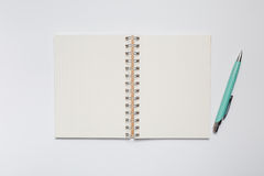 School notebook with stylish green pen Stock Photography