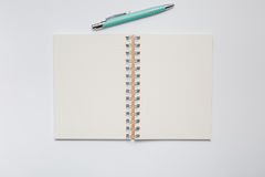 School notebook with stylish green pen Royalty Free Stock Images