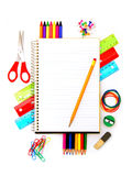 School notebook with supplies Stock Photo