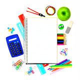 School notebook with supplies Stock Image