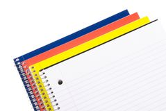 School Notebooks. Colorful Spiral Notebooks with Room for Copy Stock Photos