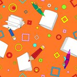 School notes seamless pattern on orange background. Tools for drawing. Cartoon color background Royalty Free Stock Photos