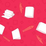School notes seamless pattern on pink background. Tools for drawing. Cartoon color background Royalty Free Stock Photo