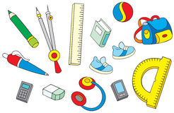 School objects. The  clip-arts of the school objects: rule, eraser, pen, pencil, compasses, headphones, books, satchel and some others Stock Photos