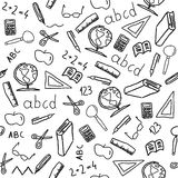 School objects. Seamless background with school object icon and symbols. Education pattern doodle Royalty Free Stock Photos