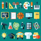 School objects. Big vector collection of colorful school icons. Flat style stock illustration