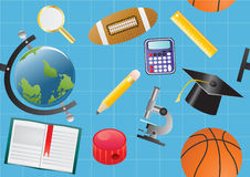 School objects on blue Royalty Free Stock Image