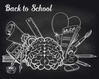 School objects on chalkboard Stock Photos