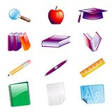 School Objects Icons. Set of School Objects Icons Royalty Free Stock Photography