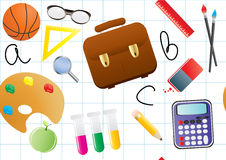 School objects over white Royalty Free Stock Photography