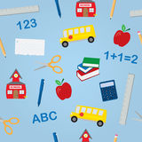 School Objects Seamless Pattern vector illustration