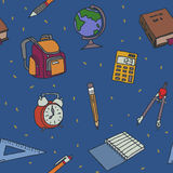 School objects seamless pattern Royalty Free Stock Photos