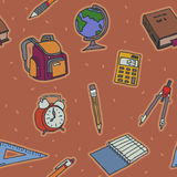 School objects seamless pattern Stock Images