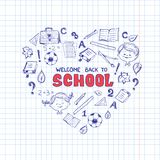School objects in the shape of heart. Stock Images