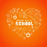 School objects in the shape of heart Royalty Free Stock Photos