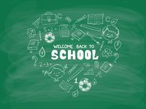 School objects in the shape of heart Stock Image