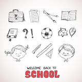 School objects, sketch style Royalty Free Stock Photo