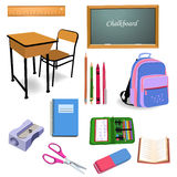 School objects. Vector set of school objects  on a white background Stock Image