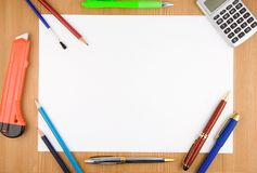 School and office accessories on wood Royalty Free Stock Photo