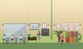 School office concept vector illustration in flat style Stock Photos