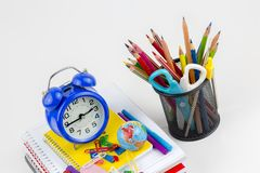 School and office equipment. Colorful stationery background. School and office equipment. Colorful stationery on the white background stock photography