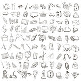 School and office hand drawn set of icons. Vector illustration Royalty Free Stock Photo
