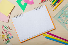 School office is next to the notepad Royalty Free Stock Images