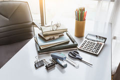 School and office stationary. On white desk in office Royalty Free Stock Photography