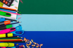 School or office stationery on colorful background. Back to . Frame, copy space. Top view. supplies Royalty Free Stock Photography