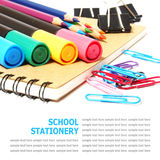 School and office stationery isolated on white Stock Photography