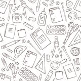 School and office stationery. Seamless pattern in doodle and cartoon style. Outline. Vector. EPS 8 vector illustration