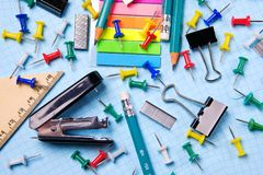 School and office stationery on a white sheet. The concept of education, office work, business, entrepreneurship. royalty free stock photography