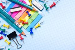 School and office stationery on a white sheet. The concept of education, office work, business, entrepreneurship. Workplace royalty free stock photos