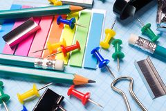 School and office stationery on a white sheet. The concept of education, office work, business, entrepreneurship. Workplace royalty free stock photography