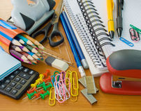 School office supplies. Different  school office supplies on a table Stock Image