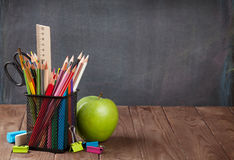 School and office supplies and apple Stock Photos