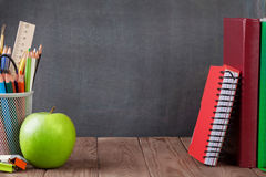 School and office supplies and apple Stock Image