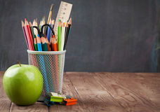 School and office supplies and apple Royalty Free Stock Photography